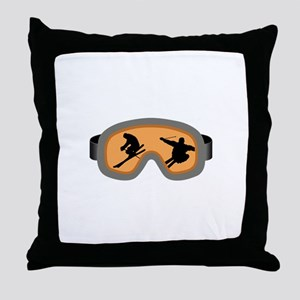 SKIERS GOGGLES Throw Pillow