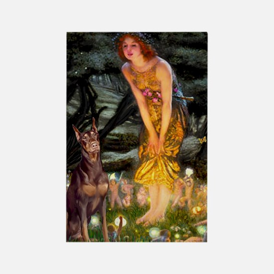 Fairies & Red Doberman Rectangle Magnet