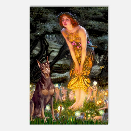 Fairies & Red Doberman Postcards (Package of 8)