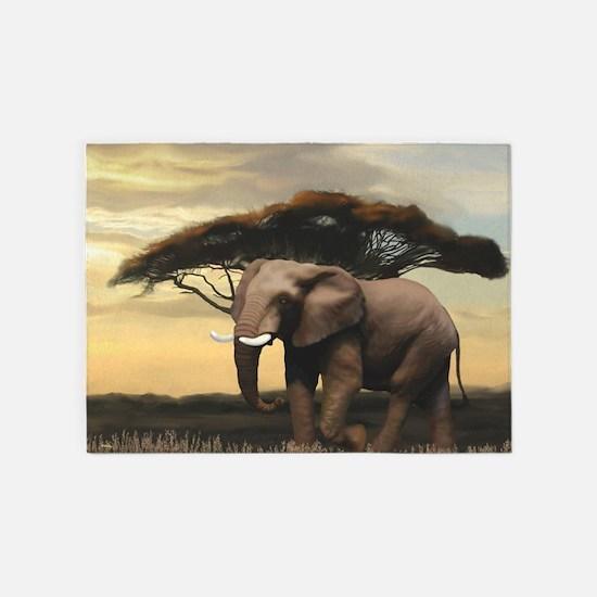 Animals, Elephant 5'x7'Area Rug