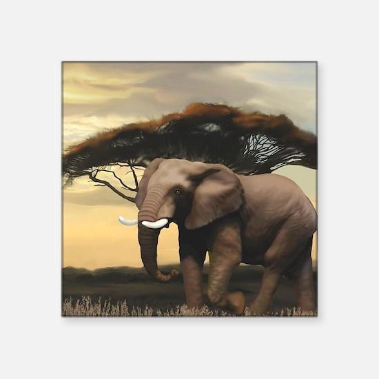 "Animals, Elephant Square Sticker 3"" x 3"""