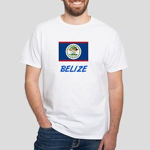 Belize Flag Artistic Blue Design T-Shirt