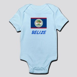 Belize Flag Artistic Blue Design Body Suit