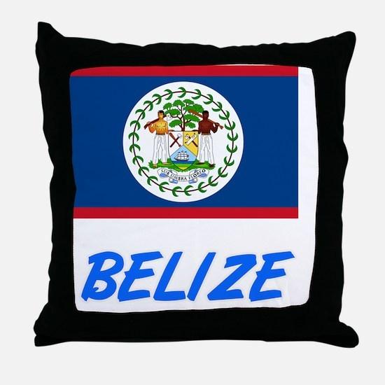 Belize Flag Artistic Blue Design Throw Pillow
