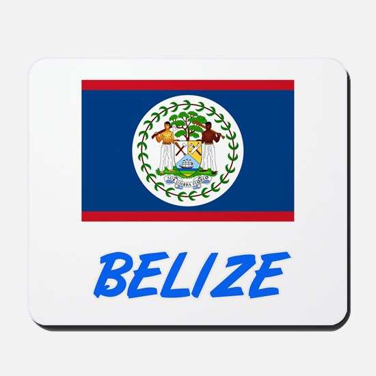 Belize Flag Artistic Blue Design Mousepad