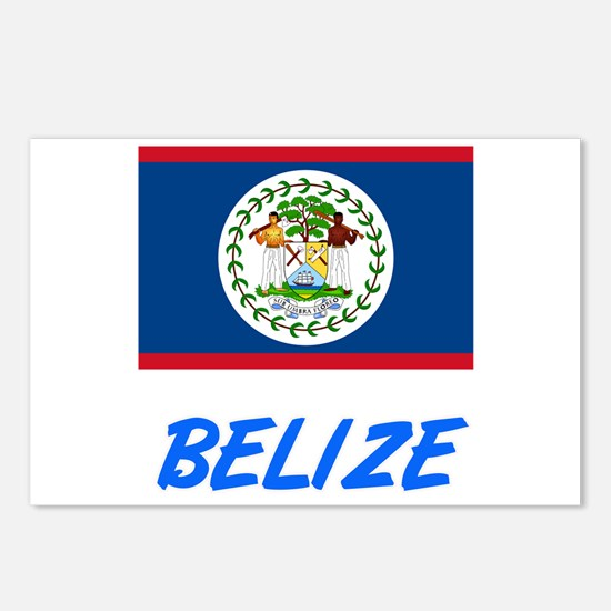 Belize Flag Artistic Blue Postcards (Package of 8)
