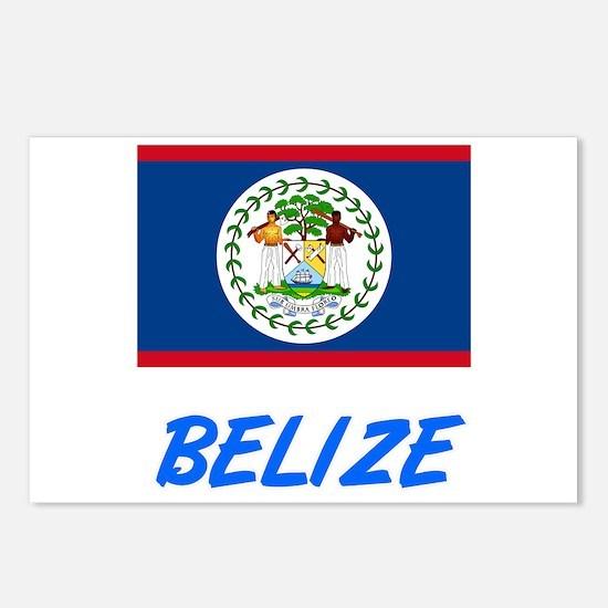 Belize Flag Artistic Blue Postcards (Package of 8)