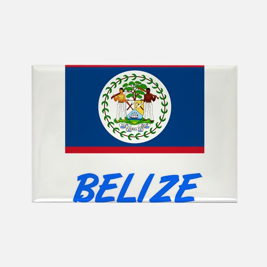 Belize Flag Artistic Blue Design Magnets