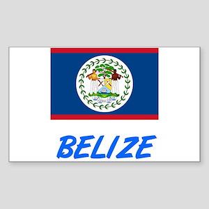 Belize Flag Artistic Blue Design Sticker