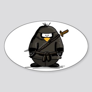 Martial Arts ninja penguin Oval Sticker