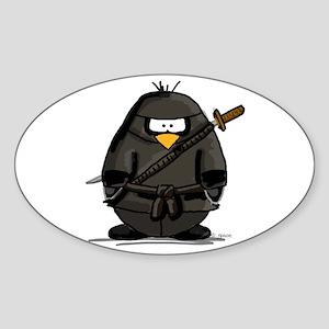 Martial Arts ninja penguin Oval Sticker