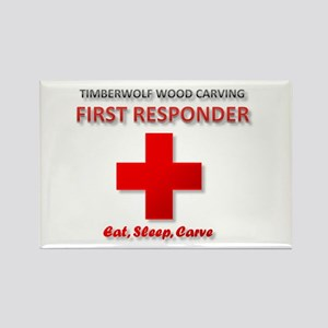 Timberwolf Wood Carving First Responder Magnets