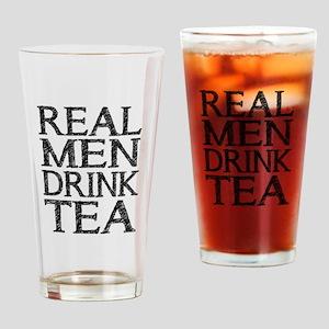 Real Men Drink Tea Drinking Glass