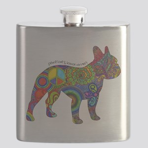 Peace Love Boston Terriers Flask