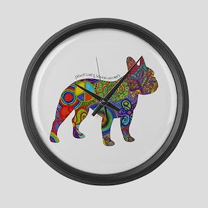 Peace Love Boston Terriers Large Wall Clock