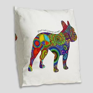 Peace Love Boston Terriers Burlap Throw Pillow