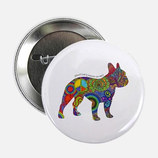 "Peace Love Boston Terriers 2.25"" Button (10 P"