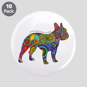 "Peace Love Boston Terriers 3.5"" Button (10 Pa"