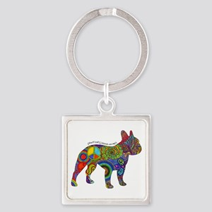 Peace Love Boston Terriers Square Keychain