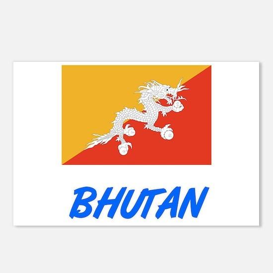 Bhutan Flag Artistic Blue Postcards (Package of 8)
