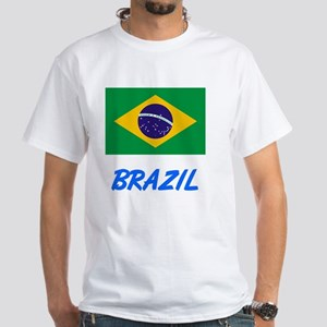 Brazil Flag Artistic Blue Design T-Shirt