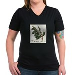 Coffee Botanical Print Women's V-Neck Dark T-Shirt