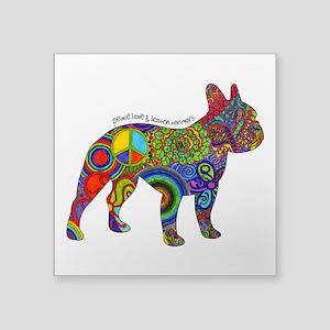"""Peace Love Boston Terriers Square Sticker 3"""""""