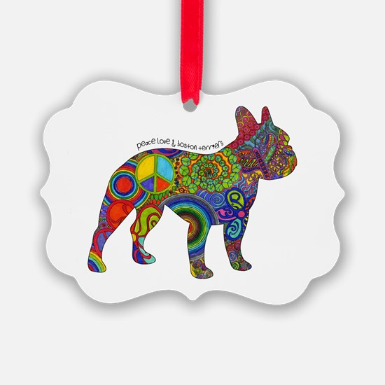 Peace Love Boston Terriers Ornament