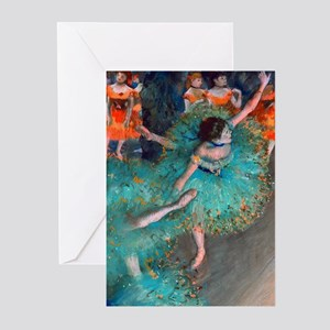 The Green Dancer by Edgar Degas Greeting Cards