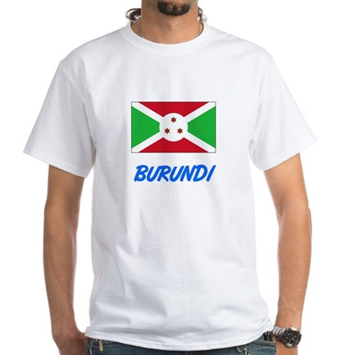 Burundi Flag Artistic Blue Design T-Shirt