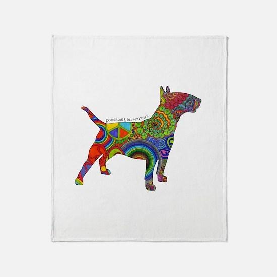Peace Love Bull Terriers Throw Blanket