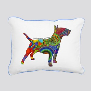 Peace Love Bull Terriers Rectangular Canvas Pillow