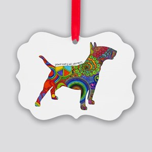 Peace Love Bull Terriers Picture Ornament
