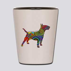 Peace Love Bull Terriers Shot Glass