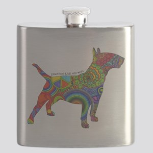 Peace Love Bull Terriers Flask