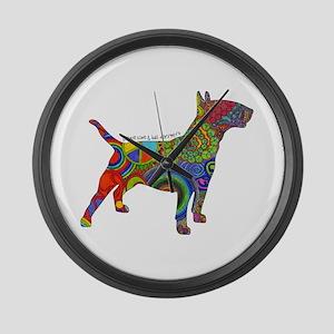 Peace Love Bull Terriers Large Wall Clock