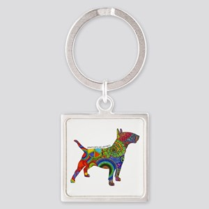 Peace Love Bull Terriers Square Keychain