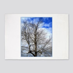 Tree, clouds, sky, photo 5'x7'Area Rug