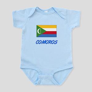 Comoros Flag Artistic Blue Design Body Suit