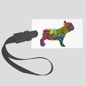 Peace Love Frenchies Large Luggage Tag