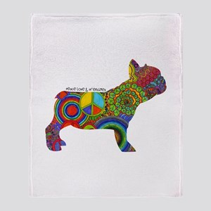 Peace Love Frenchies Throw Blanket