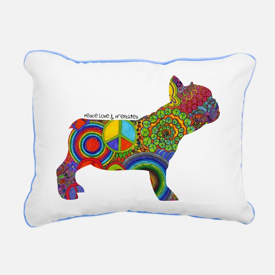Peace Love Frenchies Rectangular Canvas Pillow