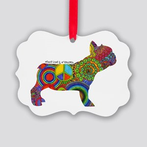 Peace Love Frenchies Picture Ornament