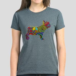 Peace Love Frenchies Women's Dark T-Shirt
