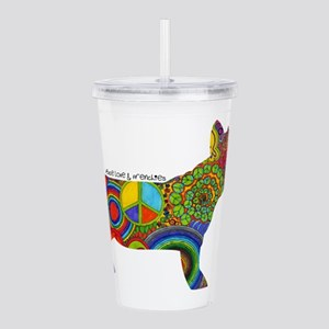 Peace Love Frenchies Acrylic Double-wall Tumbler