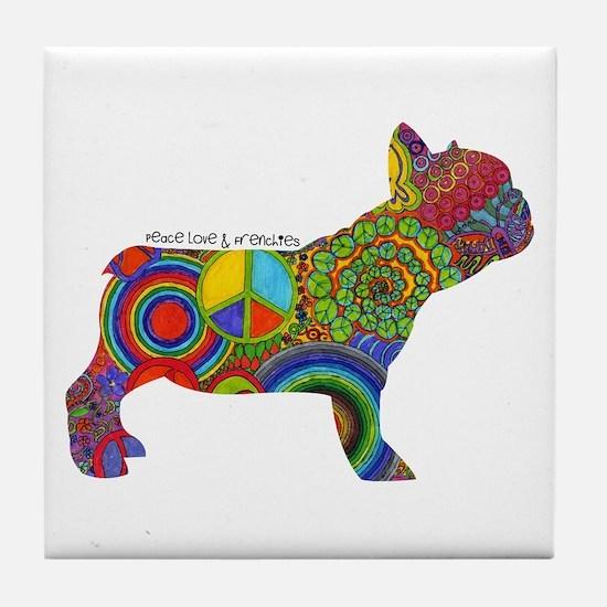 Peace Love Frenchies Tile Coaster
