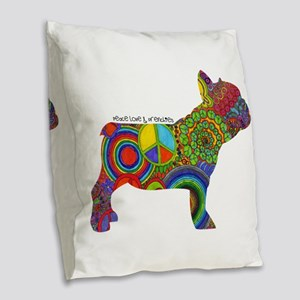 Peace Love Frenchies Burlap Throw Pillow