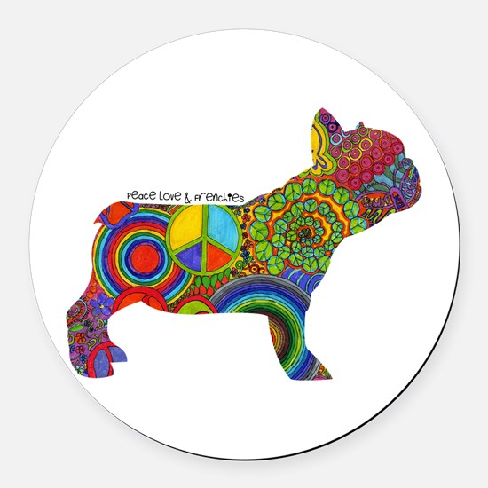 Peace Love Frenchies Round Car Magnet