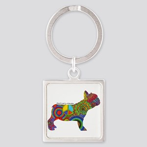 Peace Love Frenchies Square Keychain Keychains