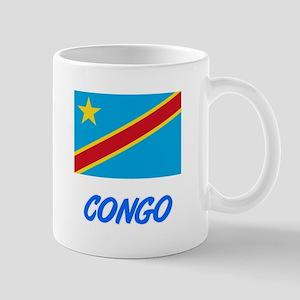 Congo Flag Artistic Blue Design Mugs